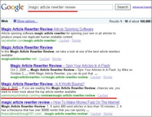 first page of rannking 300x230 Rannking in Google